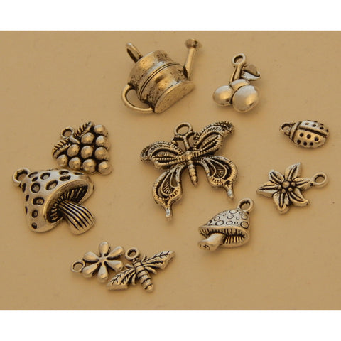 Charms Silver Tone Garden Theme - buy from J G Creations (Australia)