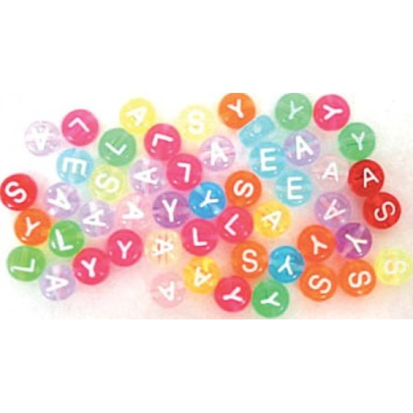 Flat Round Mixed Colour Alphabet Beads 6mm - Pack of 200