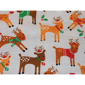 Colourful and Cute Reindeer Print Gift Bags in a Range of Sizes With White Ribbon