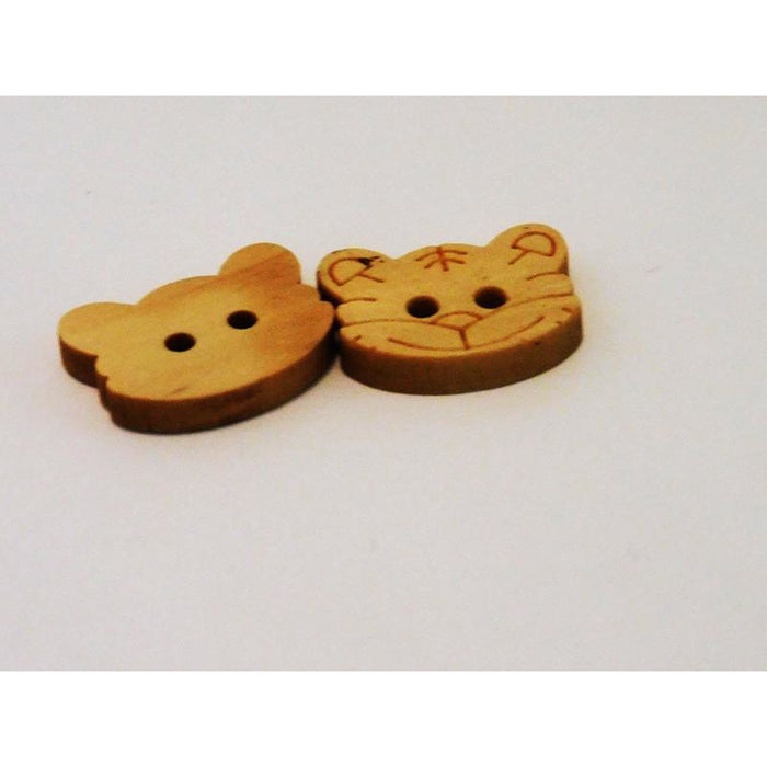 Little Cat Face Wooden Buttons in Packs of 4