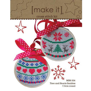 Make It Cross Stitch Kit - Tree and Hearts Baubles or Merry and Joy Baubles 7.5cm Round