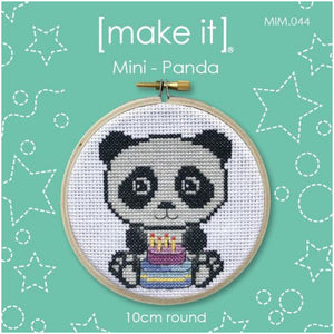 Make It Mini Panda Cross Stitch Kit - 10cm Round - buy from J G Creations (Australia)