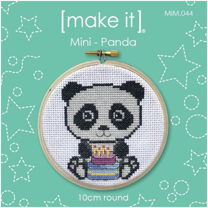 Make It Mini Panda Cross Stitch Kit - 10cm Round