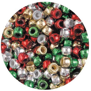 Green, Red, Silver & Gold Mix - Pony Beads Packs of 200 or 300 Beads
