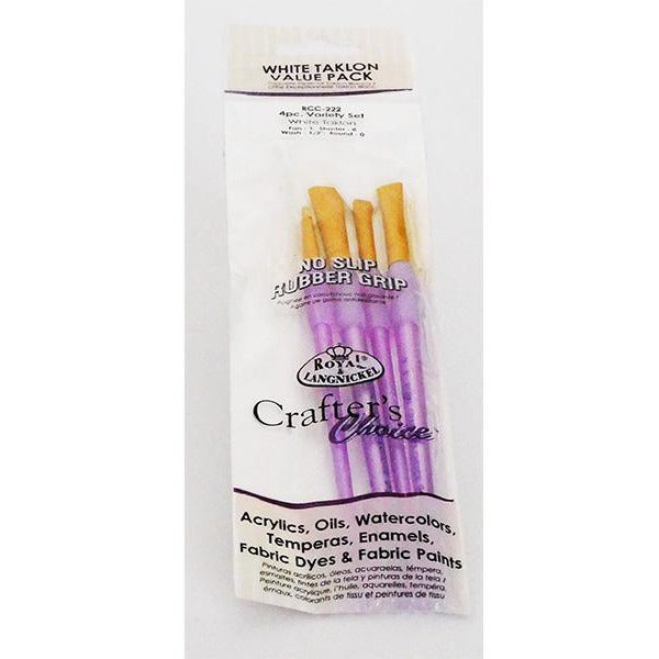 White Taklon Value - Paint Brush Packs - 4 piece Variety Set
