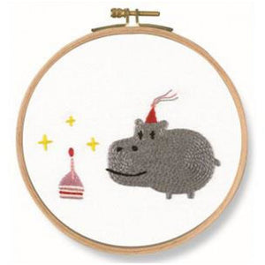 "DMC Printed Embroidery Kit - Birthday! Hippo 18.5cm (7"") Round - buy from J G Creations (Australia)"