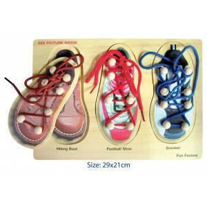 Shoelacing Wooden Puzzle - buy from J G Creations (Australia)