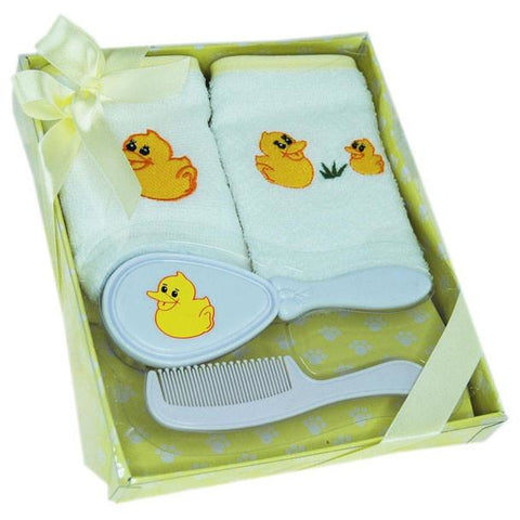 Baby Bathtime Gift Box 4 Piece Set including Brush & Comb - Choice of Colours - buy from J G Creations (Australia)