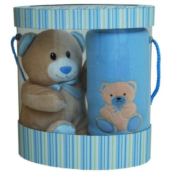 Bear and Blanket Gift Set in Pink or Blue - Baby Gift Set From Elka