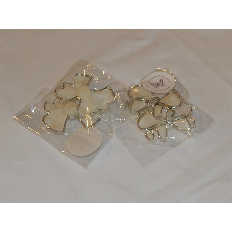 White & Silver Bow Embellishments in Packs of 2