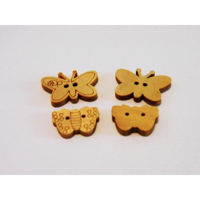 Butterfly Wooden Buttons in Packs of 4 - Choice of 2 Designs