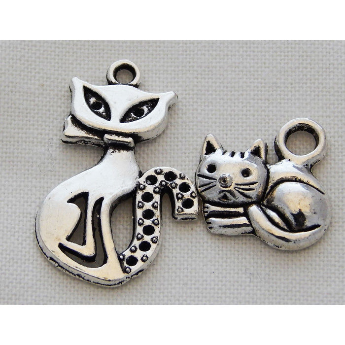 Charms - Silver Toned Cat Theme
