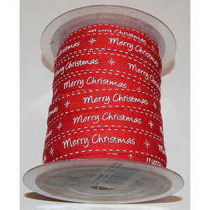 """Merry Christmas"" Red Twill Ribbon with White Print by the metre - buy from J G Creations (Australia)"