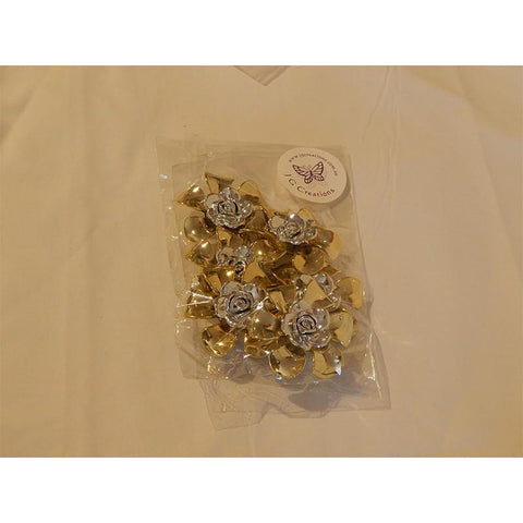 Flower Embellishments for Craft Projects - Gold & Silver Colour