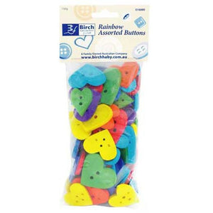 Rainbow Assorted Heart Shaped Buttons