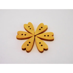 Heart Shaped Wooden Buttons - Mini in Packs of 6