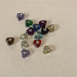 Mixed Colour Mini Heart Beads with Diamontes Pack of 40 (Approx 1cm) - buy from J G Creations (Australia)