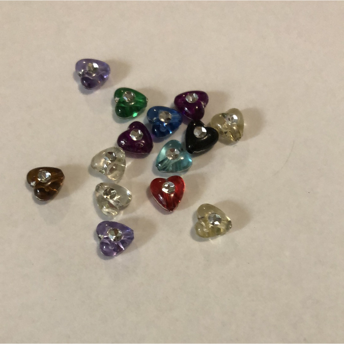 Mixed Colour Mini Heart Beads with Diamontes Pack of 40 (Approx 1cm)
