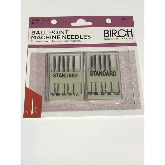 Ball Point Machine Needles - For Medium to Heavy Weight Fabrics -10 Assorted Sizes
