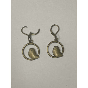 Bird in Circle Earrings Bronze Colour