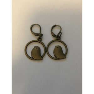 Bird in Circle Earrings Bronze Colour - buy from J G Creations (Australia)