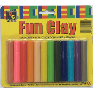 Fun Clay 12 Assorted Colours (Blister Pack) (Non Toxic)
