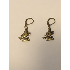 Mouse with Love Heart Earrings - Bronze tone