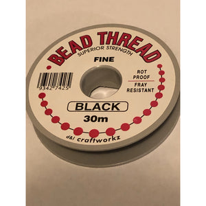 Bead Thread Superior Strength - Fine - Black 30m - buy from J G Creations (Australia)