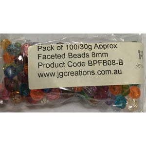 Faceted Beads 8mm - Mixed Colours