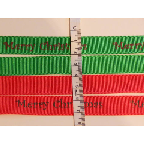 """Merry Christmas"" Grossgrain Ribbon by the Metre - buy from J G Creations (Australia)"