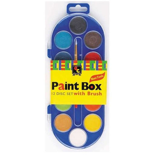 Paint Box with Clear Lid 12 Discs with Paint Brush