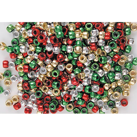 Green, Red, Silver & Goldi Mix - Pony Beads Packs of 40