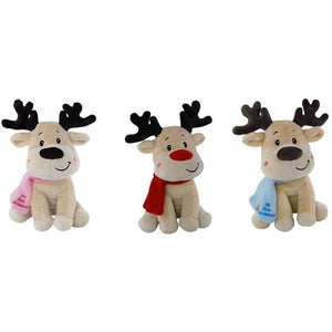 Christmas Reindeer From Elka - Choice Red Nose and Scarf, Pink or Blue My First Christmas Scarf