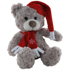 Shaggy Christmas Bear with Red Santa Hat & Scarf 25cm