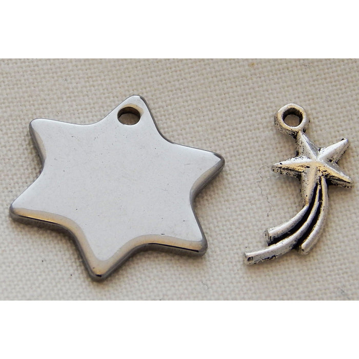 Charms Silver Toned Stars