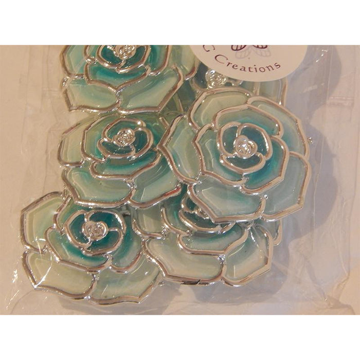 Flower Embellishments for Beading or Craft Projects - Teal Colour Pack of 4 or 6