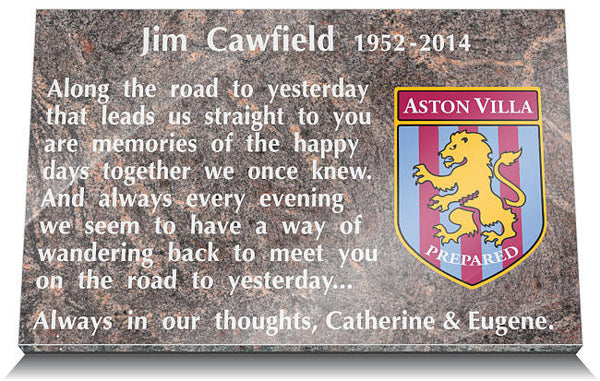 Aston Villa Football Club Memorial Tablet