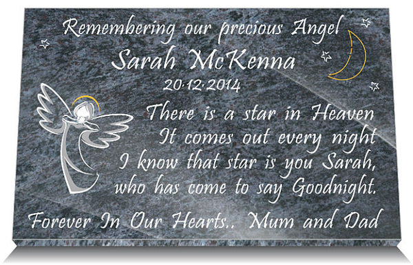 baby memorial plaque with angel