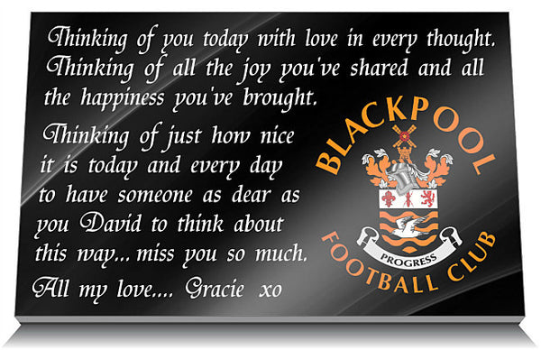 Blackpool Football Club Memorial Tablet