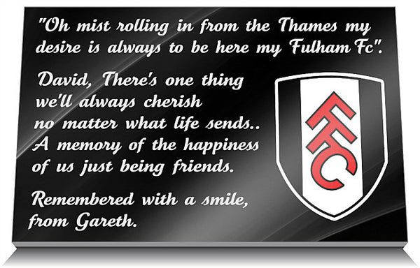 Fulham Football Club memorial Tablet