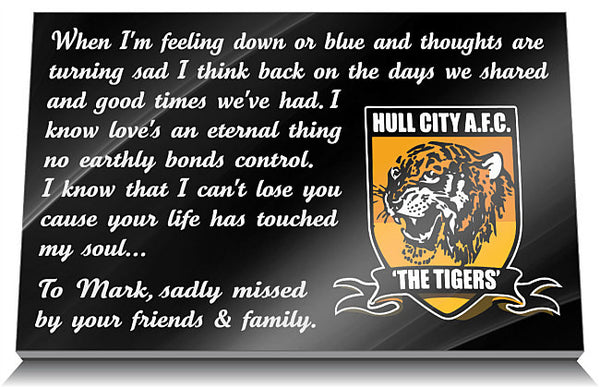 Hull City AFC Memorial Tablet