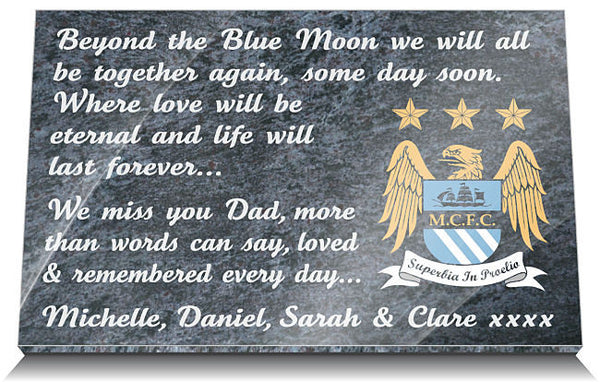 Manchester City Football Club Memorial Plaque