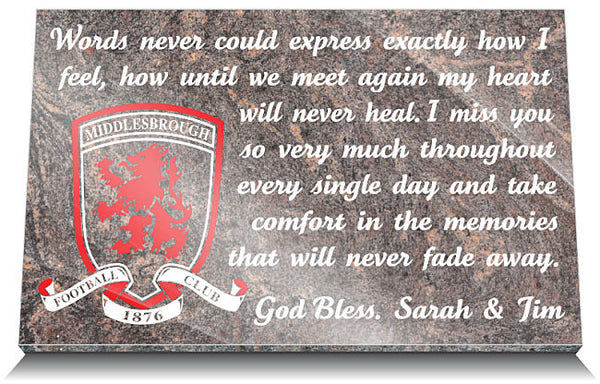 Middlesbrough Football Club Memorial Tablet