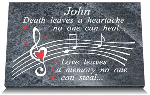 Music memorial plaques for son
