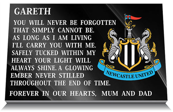 Newcastle United Football Club Memorial Plaque