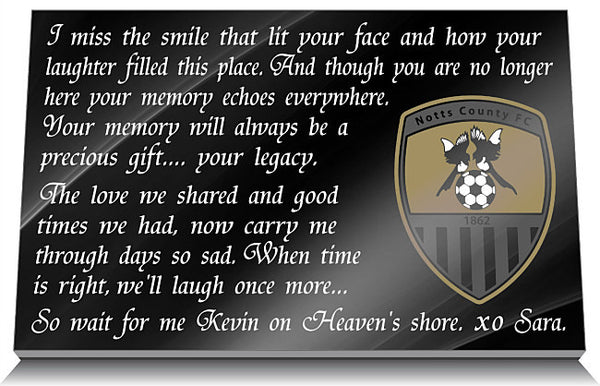 Notts County Football Club Memorial Tablet