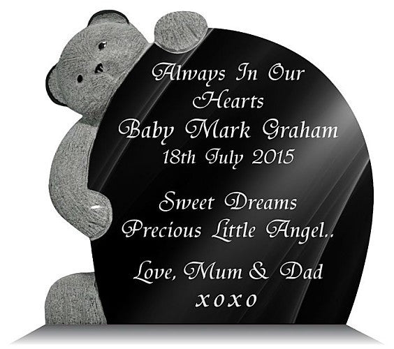 Teddy bear memorial plaque for a baby