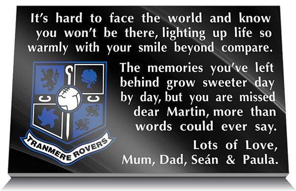 Tranmere Rovers FC Memorial Plaque