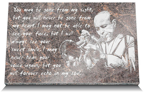 Music memorial plaques for husband