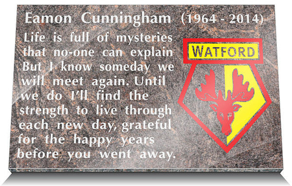 Watford Football Club Memorial Tablet